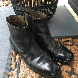 Hanover Black Leather Ankle Beatle Boots Side Zip
